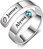 Personalized Name Rings for Women Sister Rings BFF Rings Adjustable Spiral Twist Promise Rings for Couples (Grey)