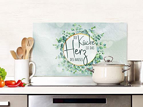 GRAZDesign Spritzschutz Glas Spruch Die Küche ist das Herz des Hauses, Küchenrückwand Herd, Glasplatte / 60x60cm