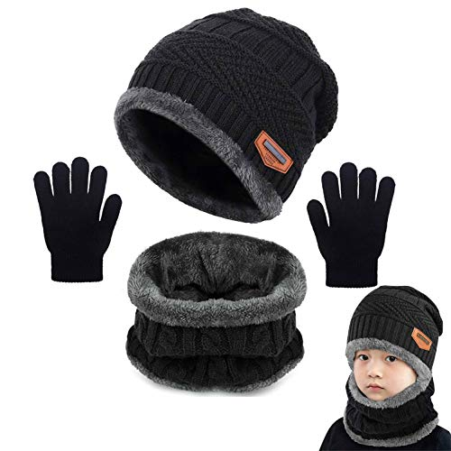 Yutdeng Tricotés Enfants Ensemble d'hiver Bonnet écharpe Gants 3 en 1, Doublure Molleton Doux Bonnet tricoté Chaud Cache-Cou Extensible Gants,Noir,Taille unique