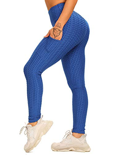 FITTOO Leggins Anti-Cellulite Sportivi Donna Pantaloni Tuta 3D Push up Yoga Pants Sexy Alta Elastico Fitness Ginnastica #1-Blu A XL