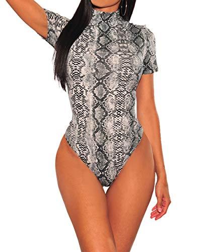 SEBOWEL - Body de Leopardo Sexy para Mujer, de Manga Corta, con Cuello de Tortuga, Leotardo, Mono, Blusa Ajustada, Camiseta, Ropa de Club (S, Gris) (Ropa)