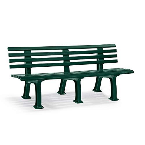Parkbank aus Kunststoff - mit 9 Leisten - Breite 2000 mm, moosgrün - Sitzbank Gartenbank Ruhebank Bank für Außenbereich UV- und witterungsbeständig PVC Bank