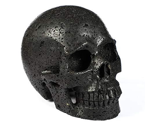 "Skullis 5.0"" Hot Lava Stone Crystal Skull, Hand Carved Gemstone Fine Art Sculpture, Reiki Healing Stone Statue."