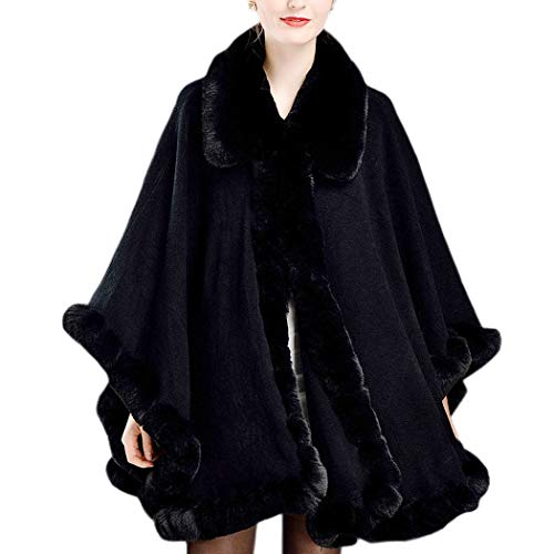 KAXIDY Donna Caldo Cappotto Lungo con Collo Ecopelliccia Giacche Invernali Mantello Sposa Nero