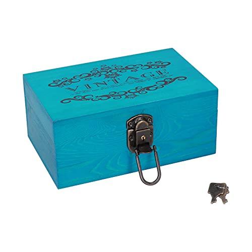 Caja de Regalo, Joyero Decorativo Escritorio Antiguo con Tapas Cerradura y Llaves para Joyas Collar para Letras Fotográficas