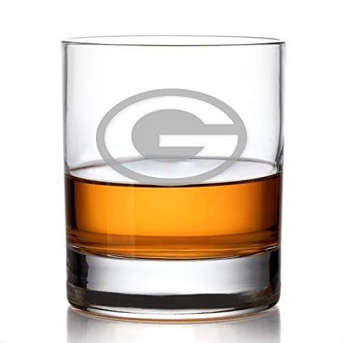 Party Posh Designs Football Fanatic Green Bay Packers Engraved Whiskey Rocks Glass