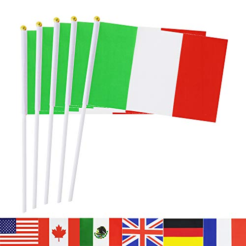 TSMD Italy Stick Flag, 50 Pack Hand Held Small Italian National Flags On Stick,International World Country Stick Flags Banners,Party Decorations for World Cup,Sports Clubs,Festival Events Celebration