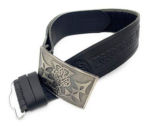 Ceinture et boucle en cuir gaufré avec nœud celtique - Noir - moyen