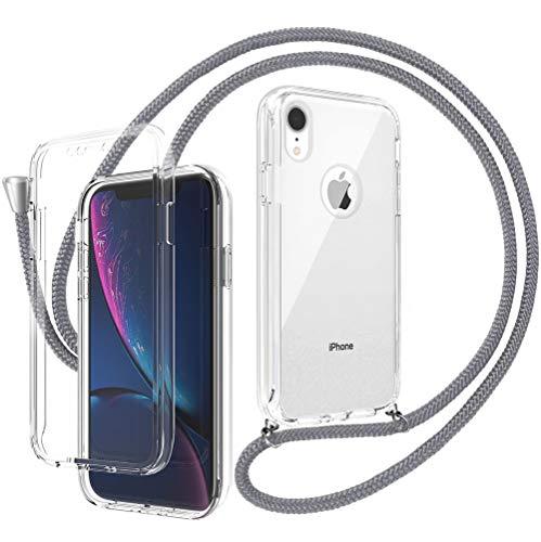 Ptny 360° Full Body Funda con Cuerda para Colgar iPhone XR Carcasa Transparente con Protectores de Pantalla Incorporados con Cordon para Llevar con Ajustable Collar Cadena Cordón