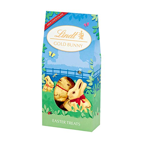 Lindt Gold Bunny latte cioccolato novità contenitore cavità cave, perfetto per la caccia alle uova di Pasqua, contiene 9 statuette individuali al cioccolato al latte da 10 g, 90 g