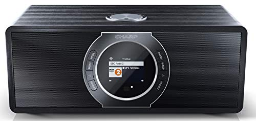 SHARP DR-I470 Stereo Internet Radio/DAB, DAB+ Radio Digitale, WiFi Streaming, Bluetooth, DLNA, radio FM, funzione sveglia/sonno e snooze, 30 Watt, effetto legno Nero