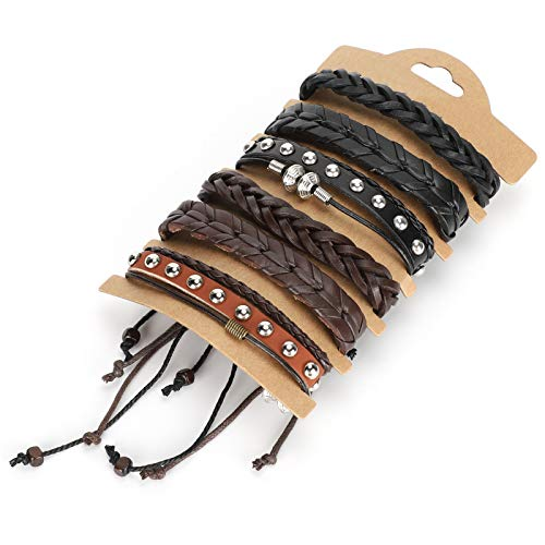 Garosa 2 Sets Braided Leather Bracelets, 6 Different Vintage Style Adjustable Hand‑Woven Wrap Bracelet for Wrist Cuff DIY Crafts Decorations