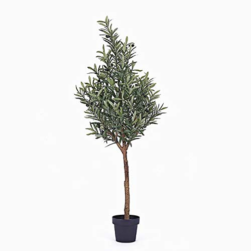 GETSO Nordic in künstlichen Olivenbaum gefälschten Baum Grün Bonsai Raumdekoration lebt Innen-Topfpflanzen gefälschte Pflanzen mit Topf: 170cm mit schwarzem Topf