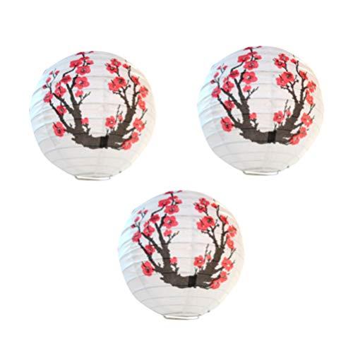 Uonlytech 3 stücke papierlaterne runde pflaumenblüte muster hängen papier lampe für neujahr festival weihnachtsdekoration (rot weiß)