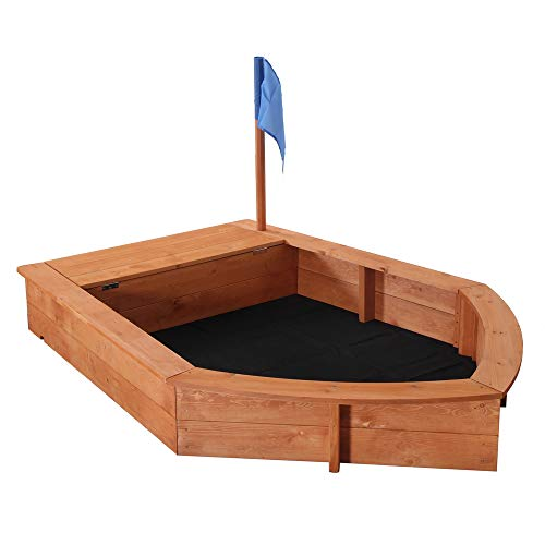Kcelarec Wood Sandbox for Kids, Wooden Pirate Sandboat Covered Sandboxes w/Bench Seat, Flag, Storage Space, Children Outdoor Playset for Backyard, Home, Lawn, Garden