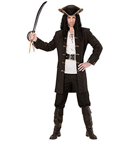 shoperama Schwarzer Herren-Mantel mit goldenen Knöpfen für Piraten Fluch der Karibik Kostüm Seeräuber Jacke, Größe:XL