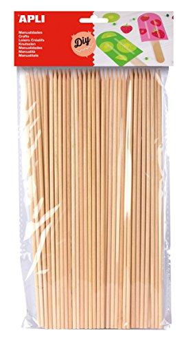 APLI - Bolsa palo redondo madera pincho 200 x 3 mm, 50...