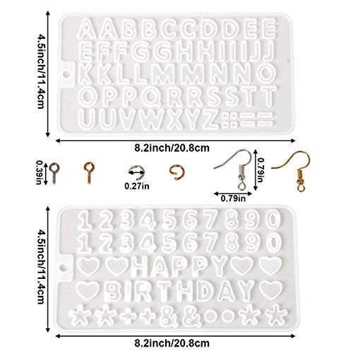 yalansmaiP 2 Pack Small DIY Silicone Resin Molds for Letters, Number Alphabet Casting Mold, Reusable Epoxy Molds for Jewelry Keychain Making with 200 Eye Pins/200 Jump Rings/200 Earring Hooks