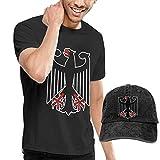 HQSL Bandera de Alemania Adulto Hombres Camiseta y Sombrero Disfraz Set Gorra de Béisbol