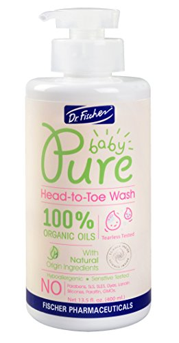 Pure Baby Shampoo and Body Wash by Dr. Fischer with 100% Organic Oils & 97% Natural Origin Ingredients for Sensitive Skin Care of Newborns Toddlers and Adults - head to toe (13.5 Oz) -  62574-1