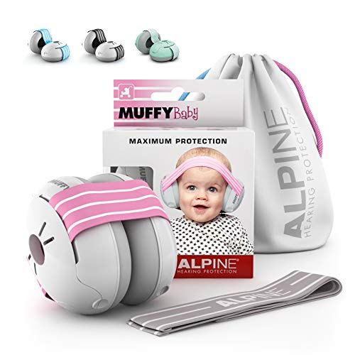 Alpine Muffy Baby Ear Protection for Newborn and Babies 3 - 36 Months – Noise Reduction Earmuffs for Toddlers and Children – Comfortable Infant Ear Muffs Prevent Hearing Damage & Improve Sleep, Pink
