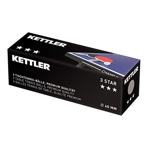 Kettler - Pelotas de tenis de mesa (3 unidades, diámetro de 40 mm)