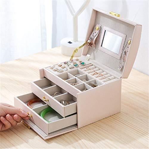 MUY Caja de Almacenamiento de joyería Bloqueada portátil de Viaje Organizador de Maquillaje Anillo Pendiente Collar Estuche de Bolsa