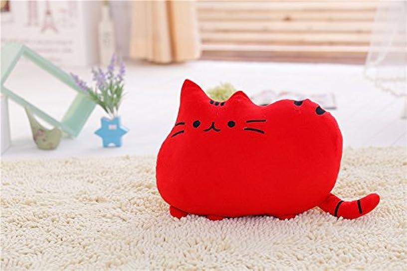 ケープ避ける防止Yitengフワフワ 柔らか かわいい ネコ クッション 抱き枕 オフィス用にも (レッド)