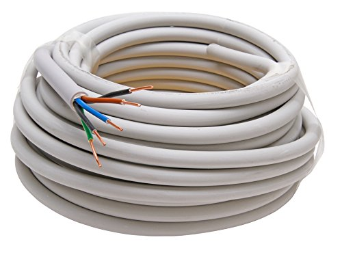 Kopp 153010840 - Cable NYM-J con Recubrimiento (5 Cables de 1,5 mm², 10 m), Color Gris