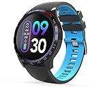 novasmart - Reloj inteligente runR IV con correa inteligente y pantalla en color, con registro de frecuencia cardíaca y presión arterial, contador de calorías y pasos, y control del sueño, negro/azul