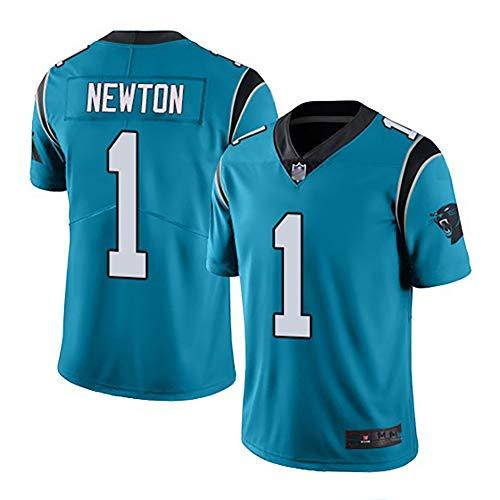 Rugby Herren Trikot, Panther, Cam Newton 1 Kurzarm Classic Trikot, American Football Sportswear-Blue-XXL