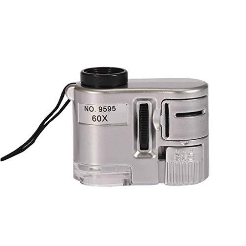 Vergrootglas met zilveren detector, mini-microscoop, draagbaar, met LED-sieraden, antiek uiterlijk, 60 x vergrootglas