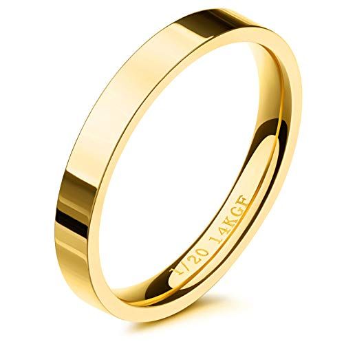 NOKMIT 3mm 14K Gold Filled Rings for Women Girls Stacking Statement Band Pointer Finger Thumb Ring Plain Dome Comfort Fit Size 5 to 10