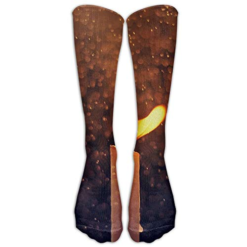 Long Dress Socks Over-The-Calf Tube Compression Socks Candle Fire Raindrops Training Football Athletic Sports Socks