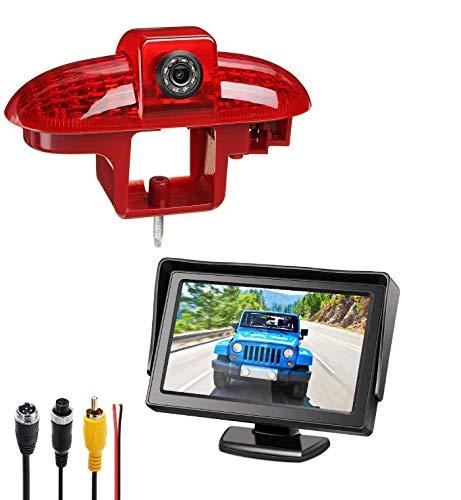 Set: Caméras de recul 3ème feu Stop + Stand-Alone Moniteur 10,9cm (4,3 Pouces) pour FIAT Talento Nissan Primastar Renault Trafic, Opel Combo,Vauxhall Vivaro (2001-2014)