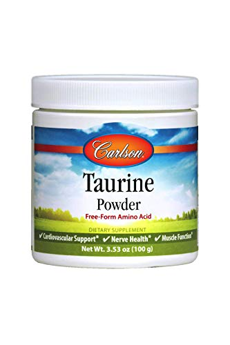 Carlson - Taurine Powder, Free-Form Amino Acid, Support, Nerve Health & Muscle Function, 100 Grams