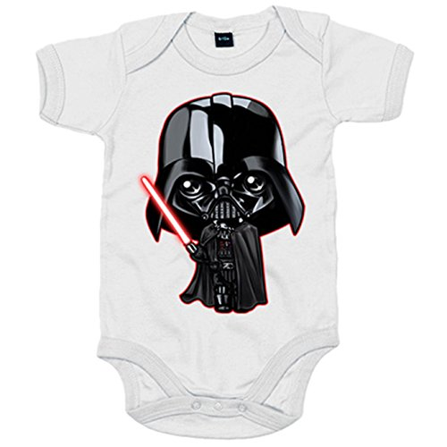 Body bebé parodia Darth Vader Kawaii - Blanco, 6-12 meses