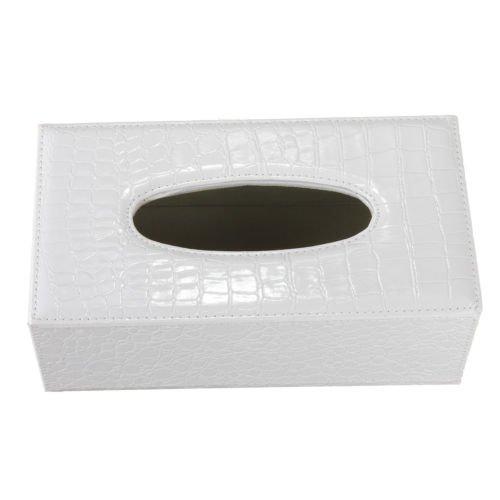 Caja de panuelos - SODIAL(R)Caja de panuelos rectangula de cuero de PU cubierta de caja de sostenedor de panuelos durable para casa y coche (grano de cocodrilo blanco)