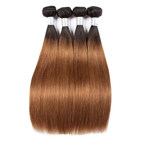 Natürliche Haarteile Brazilian Hair Weave Bundles Gerade Echthaarverlängerungen - 1 Bundle - 1B / 30 Schwarz bis Braun...