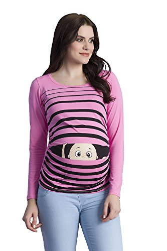 Witzige süße Umstandsmode T-Shirt mit Motiv Schwangerschaft Geschenk - Langarm (Large, Rosa)