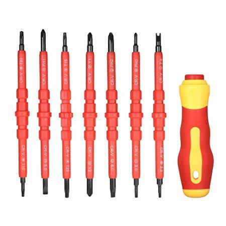 Mydio Juego de destornilladores 14 en 1 intercambiables con doble cabezal multifunción herramientas de reparación de electricistas