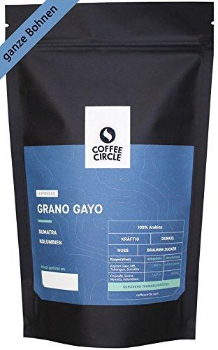 Coffee Circle | Premium Espresso Grano Gayo | 1kg ganze Bohne | Kräftig gerösteter Bio Espresso mit wenig Säure | 100% Arabica Blend | fair & direkt gehandelt | frisch & schonend geröstet