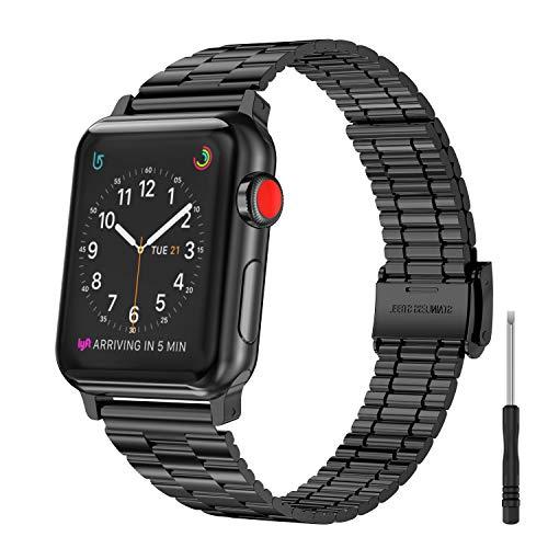 Glebo Pulsera de metal compatible con Apple Watch de 42 mm y 44 mm, para mujer, de acero inoxidable, accesorio para Apple Watch Series SE 6/5/4/3/2/1, color negro