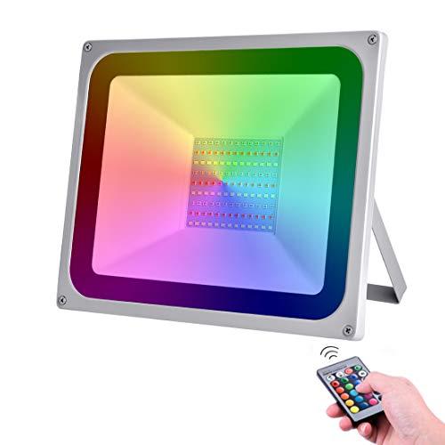 LED RGB Luces de Inundación de 100W con control remoto 8000LM IP65 Focos de Exterior Impermeables Adecuados para Jardín, Paisaje, Escenario, Calles