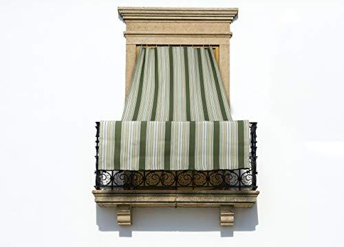 BIANCHERIAWEB Tenda da Sole A Caduta per Esterno Balcone Casa Telo Ombra Modello Riga Fine 145x350 Verde