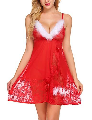 Avidlove Christmas Lingerie for Women Red Santa Babydoll Lingerie Dress Lace Chemise