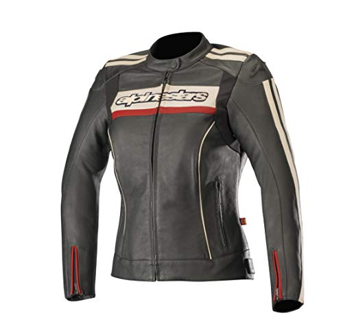 Alpinestars Chaqueta moto Stella Dyno V2 Leather Jacket Black Stone Red, Negro/Blanco/Rojo, 48