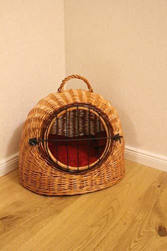 Cesto per il trasporto di gatti o cani, cuccia per dormire, in vimini, con griglia metallica e cuscino, misure L, XL, XXL (L: 46 x 42 x 40 cm)