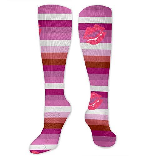 Lipstick Lesbian Pride Flag Women Men High Socks Casual Socks Boot Socks Crazy Socks