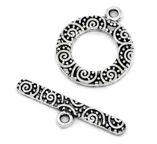 JGFinds Filigree Circle Bracelet Toggle Clasps - 38 Sets of Antiqued Silver Tone for DIY Jewelry Making Supplies